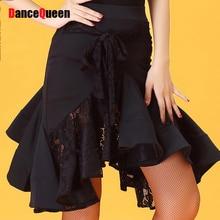 Fashion Latin Dance Skirt Black Color Silk Skirt Professional Clothes Good Quality Women Modern Waltz Ballroom Garments Y10503