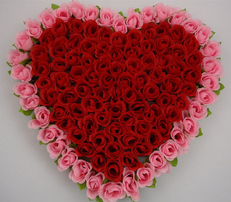 40x37cm Artificial Silk Rose Flower Wedding Car Decoration Heart Shaped Door Wreaths New In Dried Flowers From Home
