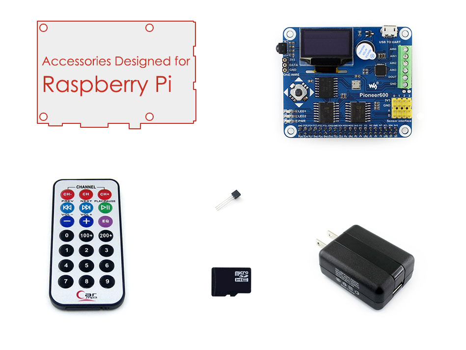 Parts Raspberry Pi RPi Acce B with RPi Expansion Board Pioneer600,16GB Micro SD Card & IR Controller for Raspberry Pi 3B/2B/B+/A tengying tygpio 40pin adapter board 3 26pin expansion board for raspberry pi b red