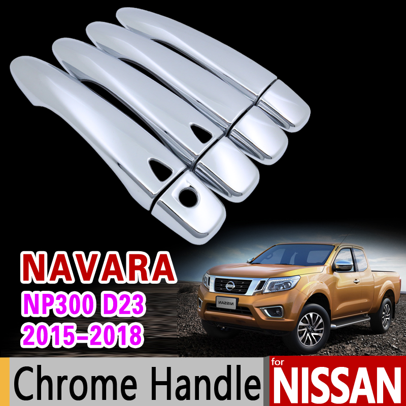 for Nissan Navara NP300 D23 Chrome Door Handle Cover Trim Renault Alaskan 2015 2016 2017 2018 Accessories Stickers Car Styling 4 pcs chrome plated abs door handle bowl for nissan qashqai