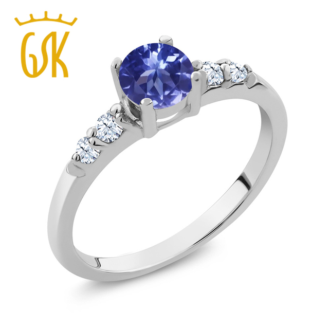 d5ffb45760d2 GemStoneKing 0.63 Ct Redondo Azul Tanzanita Creado Zafiro Blanco 925 Anillo  de Plata Esterlina Anillo de