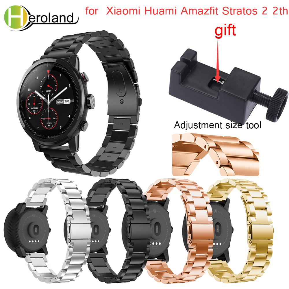 22mm watch strap Wristband Stainless steel for Original Xiaomi Huami Amazfit Stratos 2 2s pace smart watch Band strap bracelet camo silicone watch band strap for xiaomi huami amazfit pace 22mm smart watch camouflage replacement wrist band strap bracelet