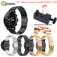 22mm watch strap Wristband Stainless steel for Original Xiaomi Huami Amazfit Stratos 2 2s pace smart watch Band strap bracelet 22mm metal stainless strap for xiaomi huami amazfit pace stratos 2 2s watch bracelet band milanese loop magnetic strap wristband