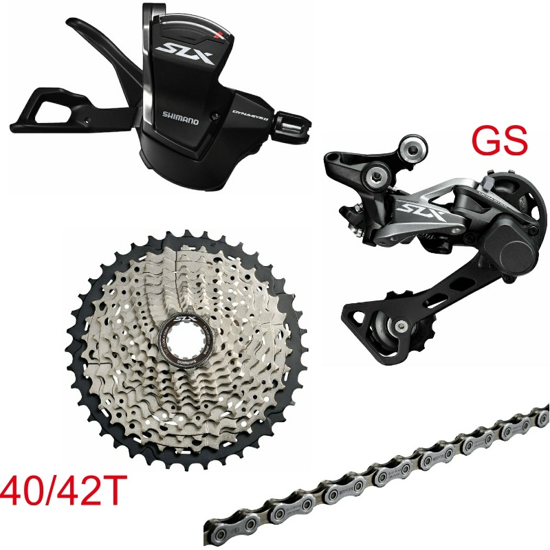 <font><b>Shimano</b></font> <font><b>SLX</b></font> <font><b>M7000</b></font> 4 PCS <font><b>1x11</b></font>-Speed <font><b>Groupset</b></font> 40/42/46T Contains Shifter Lever & Rear Dearilleur & Cassette & Chain image