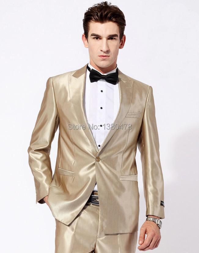 2016 Suits NEW Gold Best man slim Groom Tuxedos Men's Wedding ...