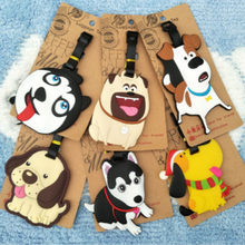 Cute Cartoon Dog Luggage Tag Soft Silica gel Suitcase Label ID Address Name Holder Travel Accessories(China)