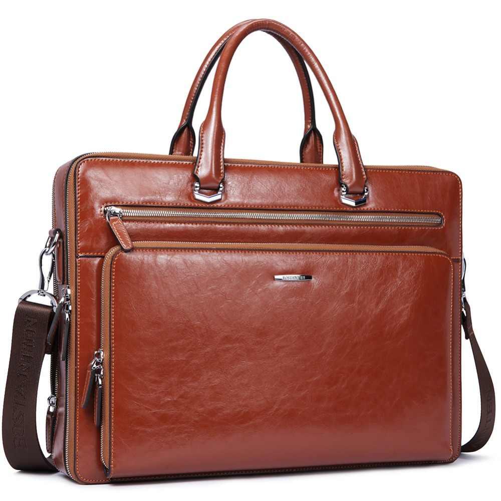 abc53814cf5b BOSTANTEN Women Man Genuine Leather Briefcase Tote Business Vintage Man  Handbag 15.6
