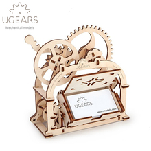 61pcs DIY Wooden Business Card Holder Mechanical Transmission Model Assembly Puzzle Toy Creative Gift Freeshipping