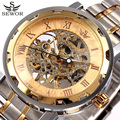 SEWOR Watch Gold Skeleton Mechanical Watch Men Stainless Steel Watches Top Luxury Brand Retro Business Watches Relogio Masculino