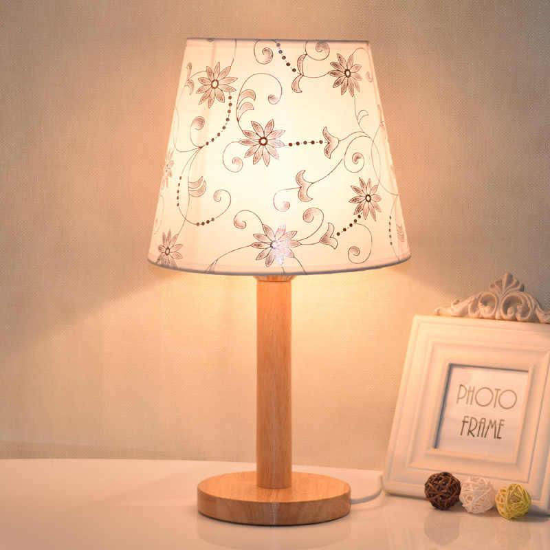 Светодиодная настольная лампа для спальни для гостиной деревянный прикроватный Люстра В Стиле Арт Деко настольная лампа светодиодное Рождественское украшение Лампе де шевет де Шамбре