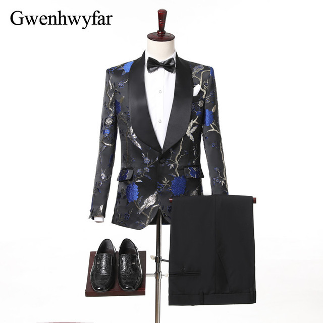 2018 Top Design Groom Tuxedos Men Suit Gorgeous Wedding Suits For Men  Formal Prom Party Wear Tuxedo Blazer Set(Jacket+Pants+Bow) 107630b0a118