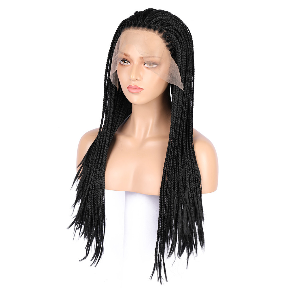 цены на New Micro Braided Lace Front Wigs Black Women Long Synthetic Hair Wig Heat Resistant 0730