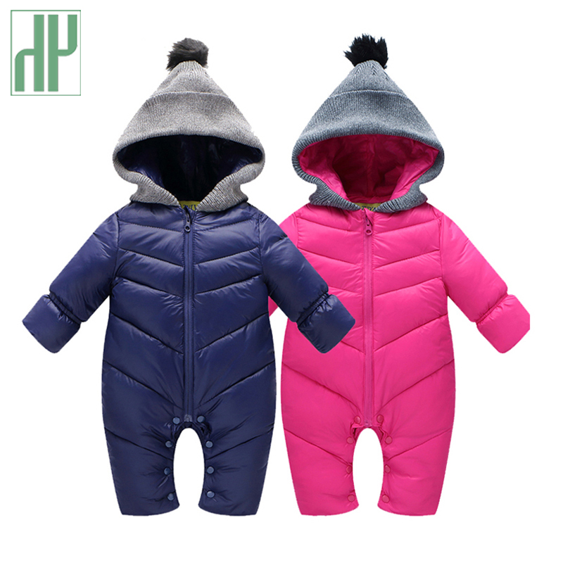 HH Newborn Baby winter clothes Baby snowsuit duck down Rompers windproof new born girl boy Warm winter rompers with fur Hooded