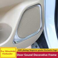 For Mitsubishi Outlander 2015 2016 2017 2018 ABS Car Inner Door Stereo Speaker Audio Sound Decorative Frame lamp Cover Trim