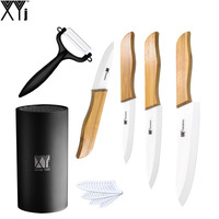 Zirconia Ceramic Knife Set 3 4 5 6 White Blade Bamboo Handle Kitchen Knives Kit With