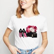 Футболка в винтажном стиле; модная футболка на высоком каблуке с принтом парфюма; футболки для девочек; топы в Корейском стиле; Camiseta Mujer