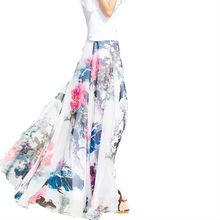 Bohemian Floral Skirt 2017 Spring and Summer Fashion Women's Printed Chiffon Beach Skirt Mopping The Floor High Waist Skirts 4XL