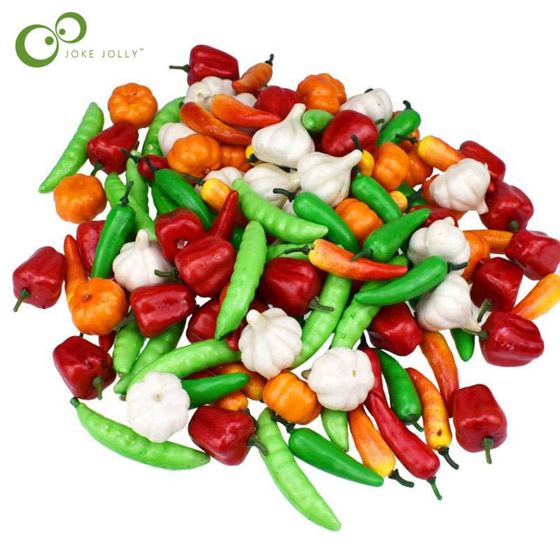 Artificial Green Peppers Plastic Pepper Fruit Vegetables Choose Quantity