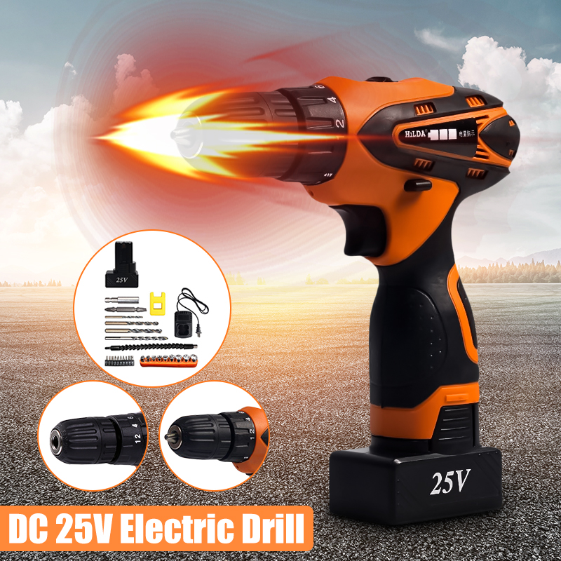 Cordless Impact Electric Drill DC 25V Lithium Battery Electric Drill Power Drills with Screwdriver Bit Accessories Set For Wood цена