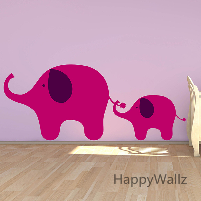 Us 12 2 6 Off Elephant Wall Sticker Diy Baby Nursery Elephant Wall Decal Kids Room Easy Wall Art Decorating Children Animal Decors A19 In Wall