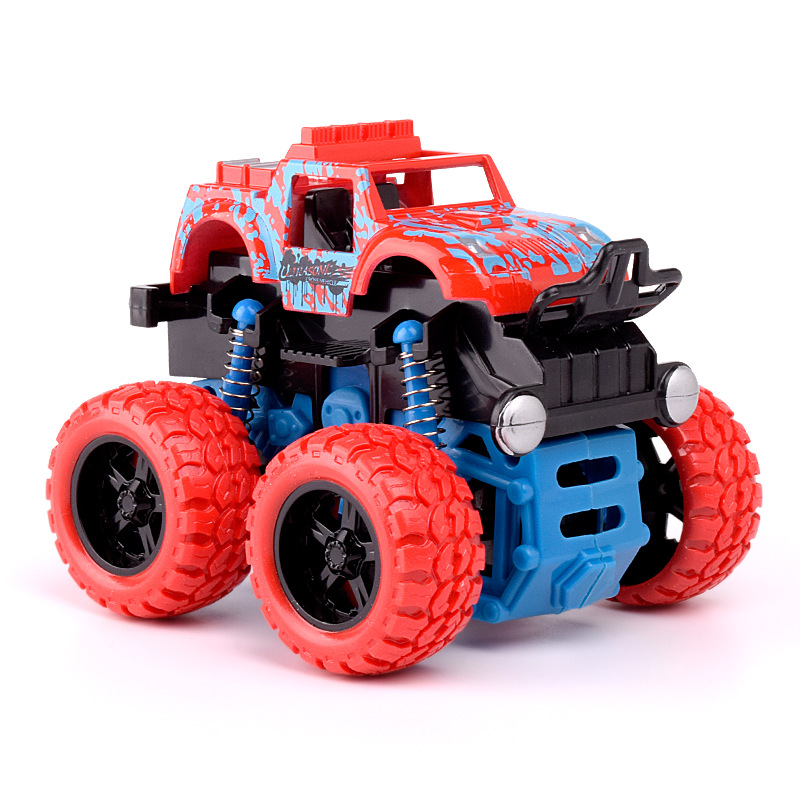 1:36 Friction Mini 4WD Car Inertia Toys for Children Rock Off-road Stunt Plastic Vehicles Machine without Electronic
