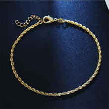 TJP 2MM Twist Chain Anklets For Women Jewelry Trendy 925 Sterling Silver Bracelets Girl Christmas Party Accessories Female