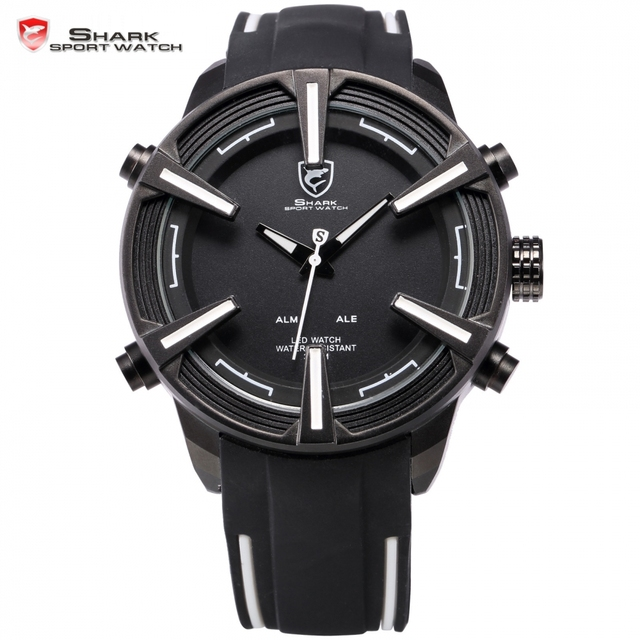 Tiburón Reloj Deportivo Marca Pantalla LED Fecha Día Alarma Relogio masculino Correa de Silicona Analógico Militar Hombres Reloj Digital/SH387