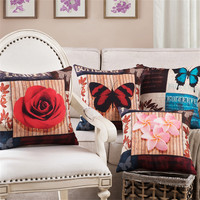 RUBIHOME Wholesale 4pieces Lot Decorative Cushion Cover Pillows Flower Butterfly 3D Design For Sofa Home Decor
