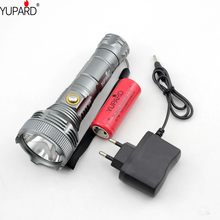 YUPARD Super Bright XM-L T6 LED Flashlight Lamp High Power Torch For Camping +1*26650 rechargeable battery+direct charger(China)