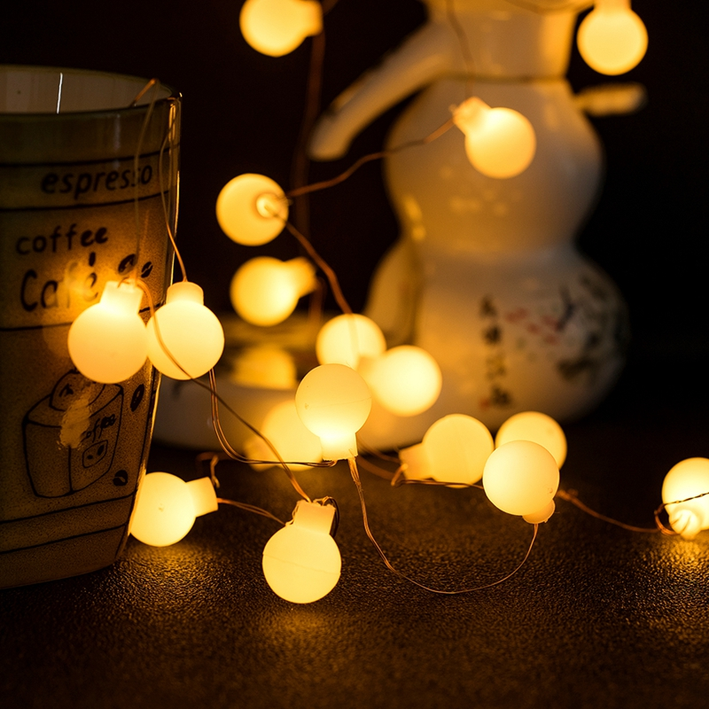 10led 20led 50ked CR2032 Battery String Lights Copper Wire Decoratio LED Fairy Lights Ball For Birthday Party Garland Wedding
