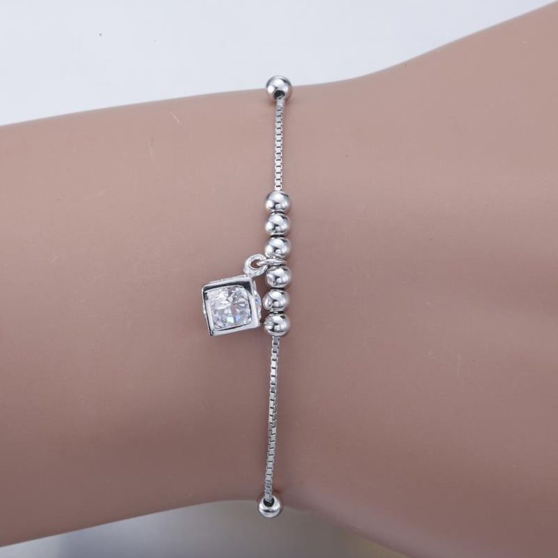 Aceworks 100% Original 925 Sterling Silver Cubic Zircon Bangle Bracelet Jewelry Women Gift Solid Vintage Charms Chain Square