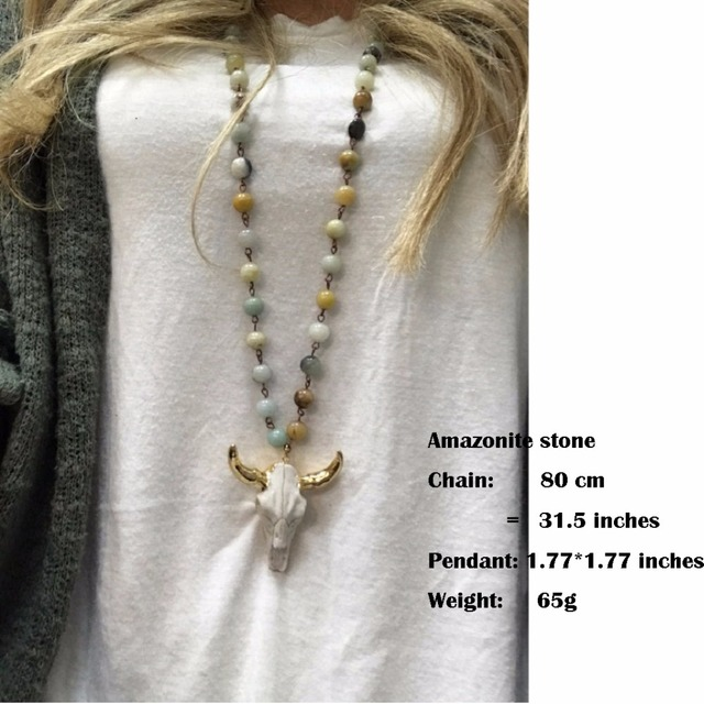 Natural Amazonite Stones Statement Necklaces Bohemian Tribal Skull Jewelry Long Chain Horn Pendant Necklace 2018 Spring Fashion 5