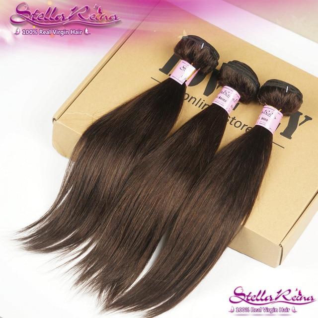 Farbe 2 Brown Brasilianisches Jungfrau Haar Gerade Weben 3 Stucke