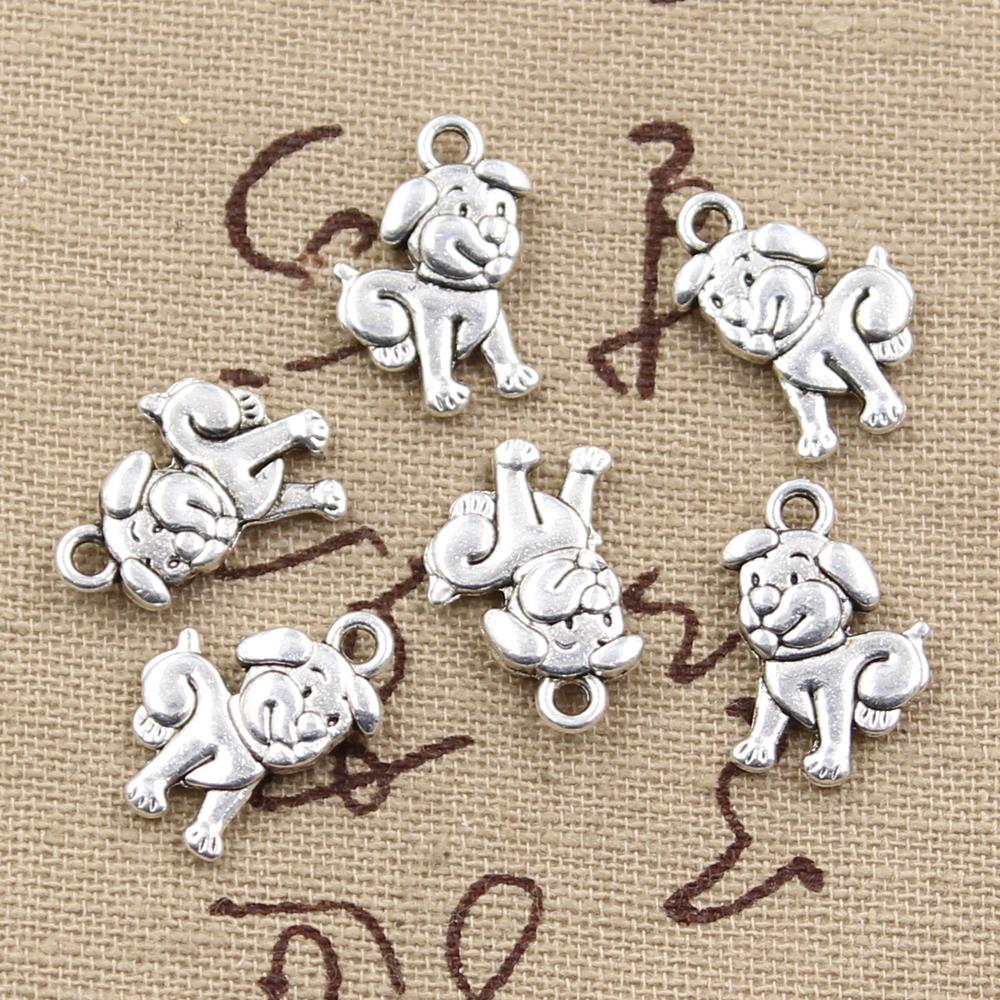 8pcs Charms double sided lovely dog 17x12mm Antique Making pendant fit,Vintage Tibetan Silver,DIY bracelet necklace