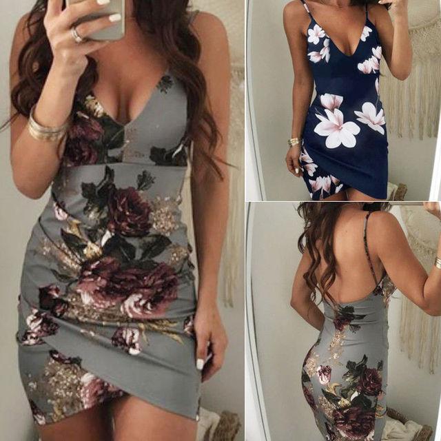 Bodycon Clubwear Party Sexy Floral Dress Backless Skinny Slim Dresses