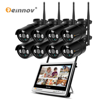Einnov 1080P 8CH 12 LCD Monitor NVR CCTV Video Surveillance Kit Outdoor Wireless Watch Reviews With Wifi Security System IR HD