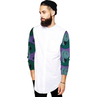 Private custom men fashion tops african shirt stand collar print wax patchwork dashiki outfits for wedding/party