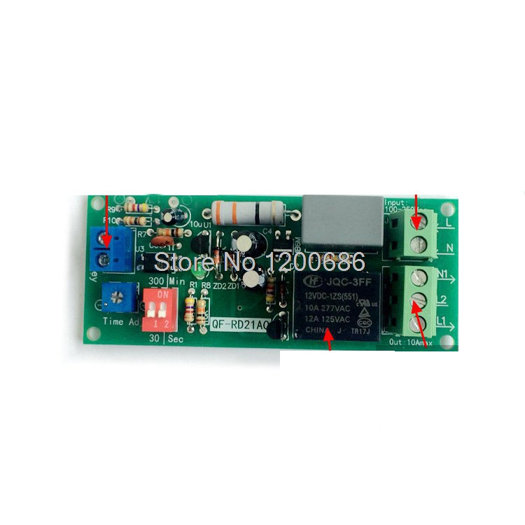 цена на Delay Turn off switch relay AC 100V 110V 120V 220V Delay Time Control Relay 10S 30S 1MIN 5MIN 10min 30min delay off relay