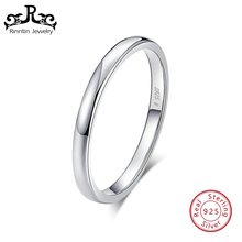 Rinntin Real 925 Sterling Silver Women Rings Pefect Polished Round Style Female Wedding Band Engagement Ring Fine Jewelry TSR74