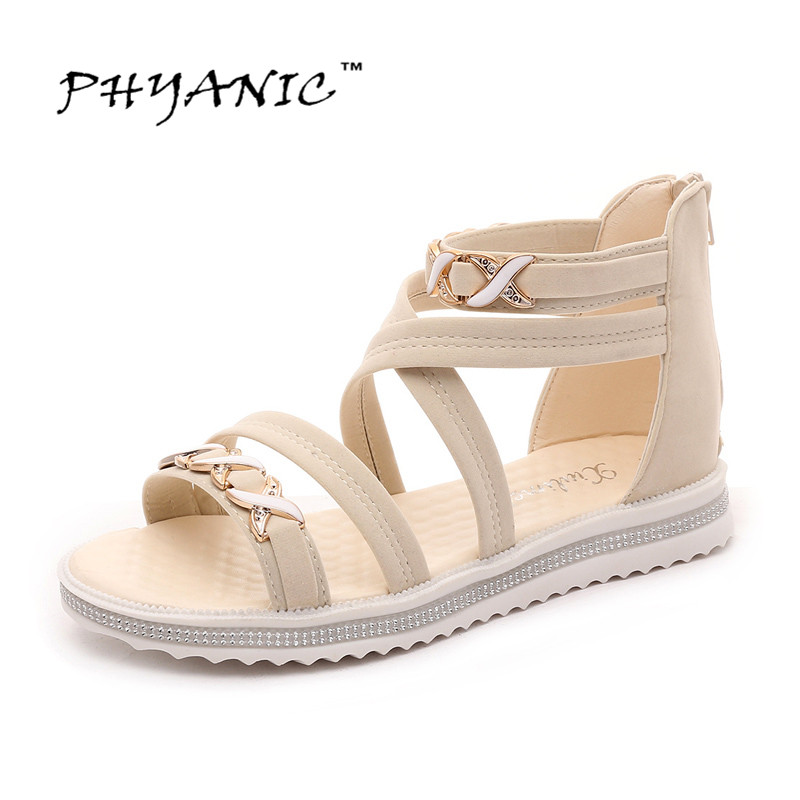 PHYANIC 2017 Summer New Shoes Woman Fashion Ladies Sandals Solid Cross-tied Flat Sandals Summer Beach For Ladies Shoes phyanic summer style shoes woman 2017 new gladiator sandals platform flats fashion creepers women flat shoes 3 colors phy4044