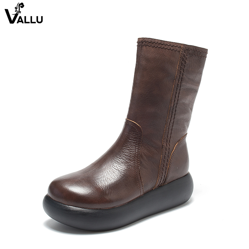 VALLU Mid-Calf Boots Shoes Woman 2018 High Platform Boots Female Round Toe Genuine Leather Lady Vintage Shoes New women mid calf boots shoes new arrival vallu vintage shoes lace up original leather female chunky heel boots
