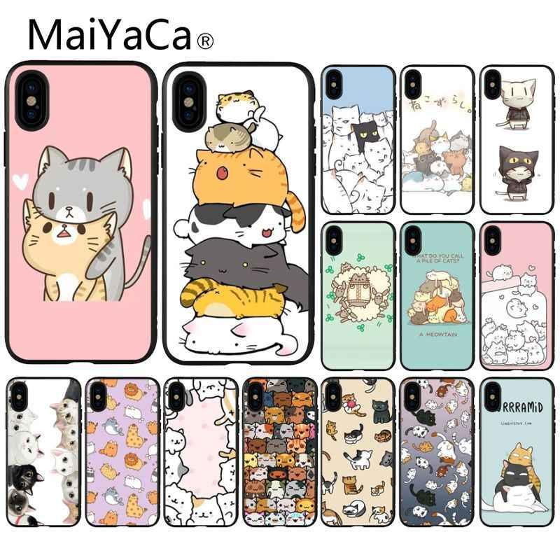 MaiYaCa Bonito engraçado UMA Pilha De Gatos da arte do gato preto Macio Caso de Telefone para o iPhone Da Apple 8 7 6 6 S Plus X XS MAX 5 5S SE XR Cobertura Móvel