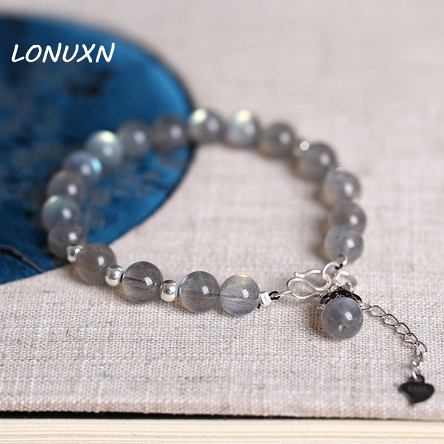 6e289ac0432 US $31.75 6% OFF|7mm high quality Moonstone Bracelet 925 Sterling Silver  Grey Labradorite Natural semi precious stones crystal lovers best gift-in  ID ...