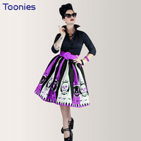 2017 Hot Long Sleeve Printed Skull Pleated Dresses Without Belt Women Cosplay Ball Gown Dress Halloween