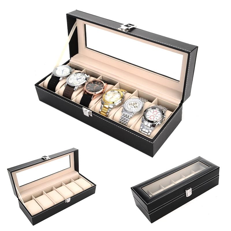 2019 Nuovo 6 Griglie Della Cassa Scatole er orologi Involucro per Ore Guaina per Ore Box per ore Orologio