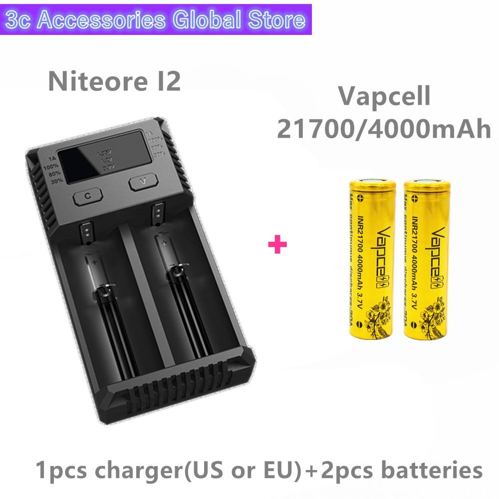 Vapcell 2 pièces INR 21700 4000 mAh 30A li-ion batterie rechargeable avec Nitecore nouveau I2 Digi chargeur LCD Intelligent pour fumée E-CIG