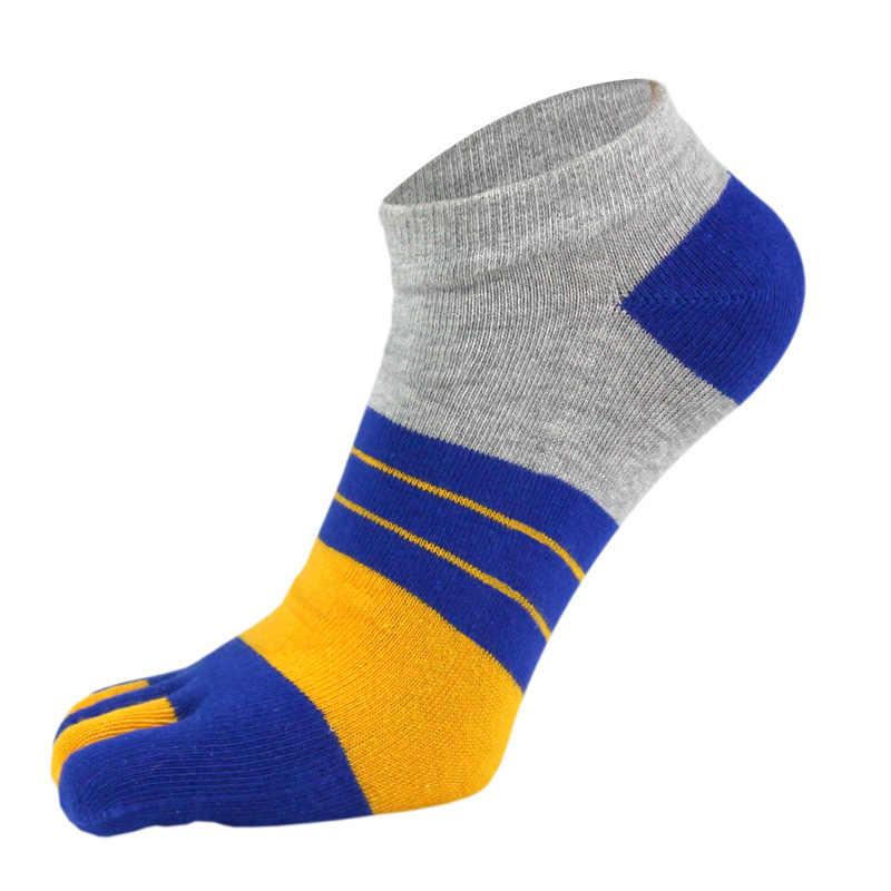 VERIDICAL/5 пар/лот, хлопковые носки с носком для мужчин и мальчиков, для защиты лодыжек, носки с пятью пальцами, полосатые носки для лодок, модные летние носки