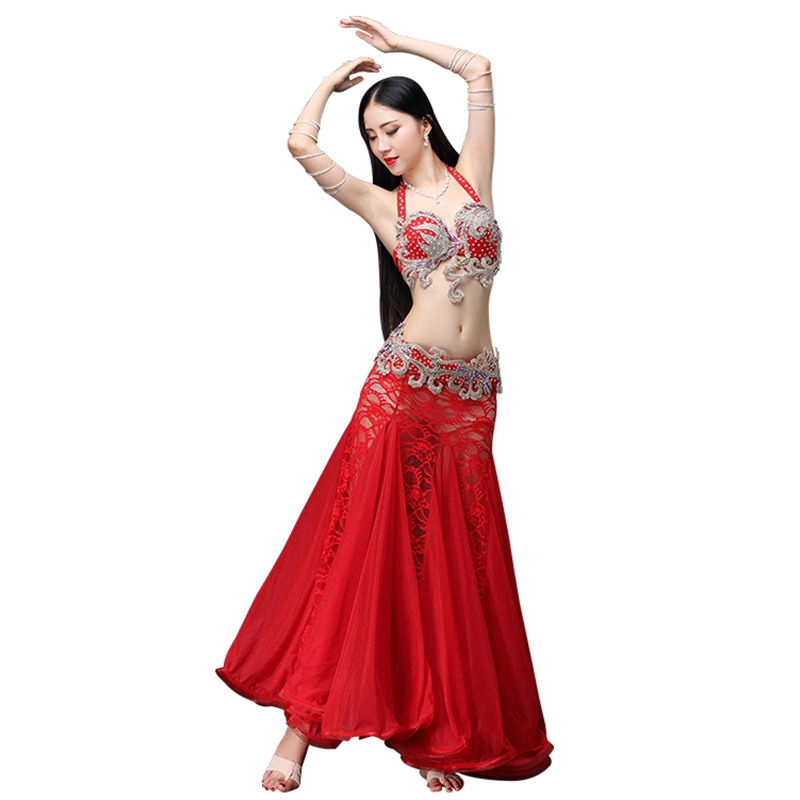 Stage Dance Wear 2018 Belly Dancing Clothes Oriental Dance Outfits Sexy Lace Belly Dance Beaded Costume