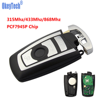 OkeyTech 4 Button 315/433/868 Mhz Smart Remote Keys Keyless For BMW 3 5 7 Series 2009 2016 CAS4 CAS4+F System With PCF7945P Chip Car Key     -
