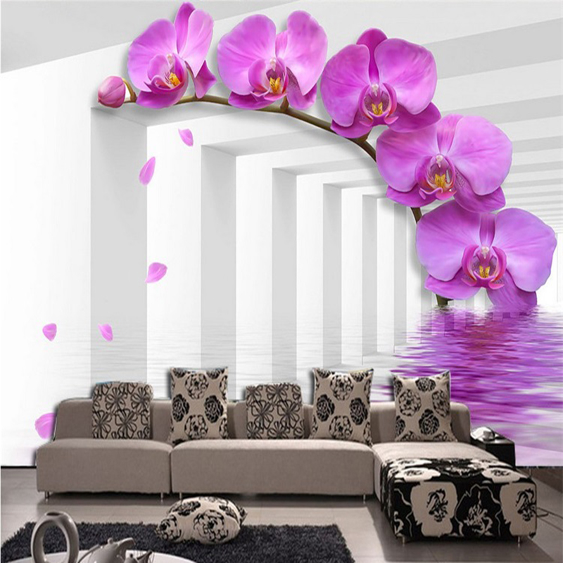 Study Room Wallcoverings Modern-style Violet Flower Custom Size 3D Photo Wallpaper Backdrop Stereoscopic Murals Wall Paper Roll flower violet w edp